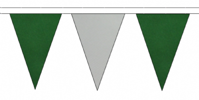 DARK GREEN AND GREY TRIANGULAR BUNTING - 10m / 20m / 50m LENGTHS